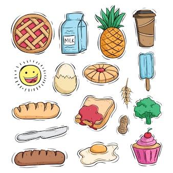 Delicioso desayuno saludable conjunto de alimentos