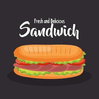 Delicioso diseño de ilustración de vector de comida rápida de sándwich
