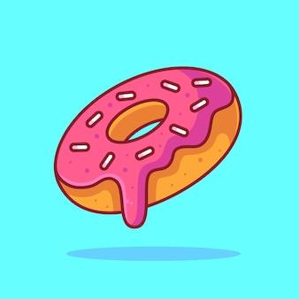 Delicioso donut logo vector icon illustration logotipo de comida premium en estilo plano para restaurante