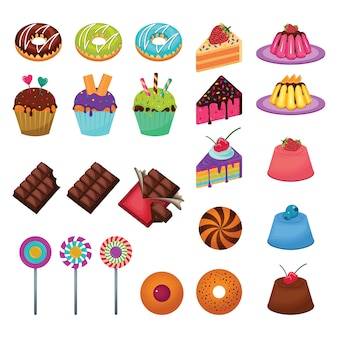 Delicioso dulce snack food candy cake chocolate set