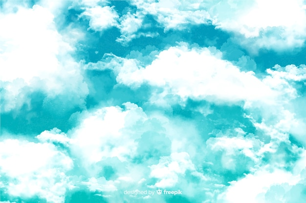 Delicioso fondo de nubes de acuarela