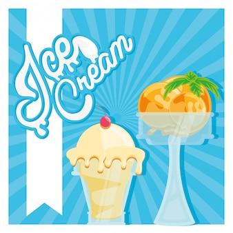 Delicioso helado en copas