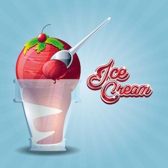 Delicioso helado en vaso con cuchara