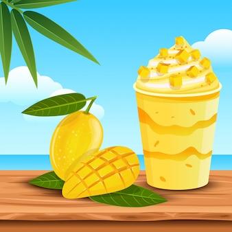Delicioso jugo de mango en el verano.