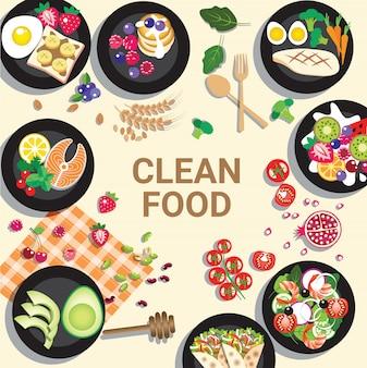 Delicioso menú de comida limpia para un concepto saludable