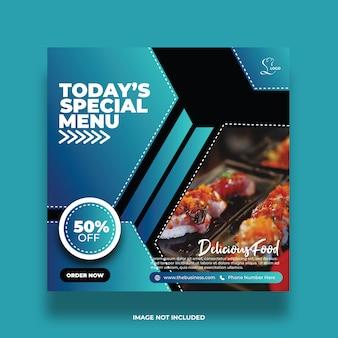 Delicioso menú especial de hoy restaurante resumen comida redes sociales publicar plantilla abstracta