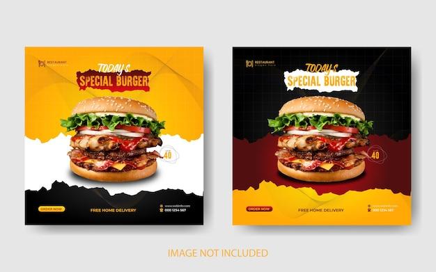 Delicioso menú de hamburguesas y comida, banner de redes sociales y diseño de plantilla de publicación de instagram