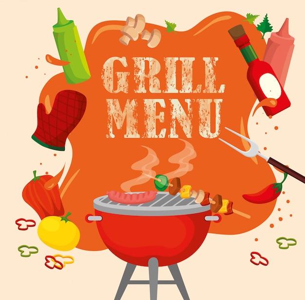 Delicioso menú a la parrilla con horno y comida