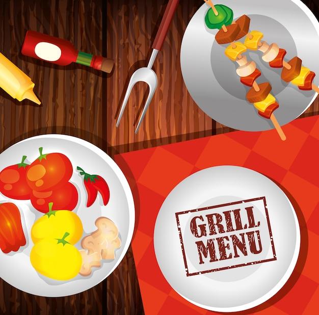 Delicioso menú de parrilla y platos con comida en madera de fondo