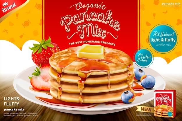 Delicioso panqueque esponjoso con coberturas de mantequilla de miel y fruta fresca, anuncio de producto de mezcla para panqueques