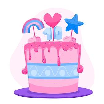 Delicioso pastel de cumpleaños con adorno.
