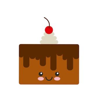 Delicioso pastel kawaii personaje