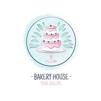 Delicioso pastel logotipo de la empresa comercial
