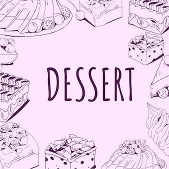 Delicioso postre handdrawn doodle vector ilustración