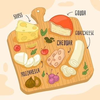 Delicioso queso en tablero de madera ilustrado