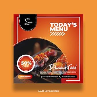 Delicioso restaurante saludable hoy menú comida redes sociales resumen plantilla de publicación