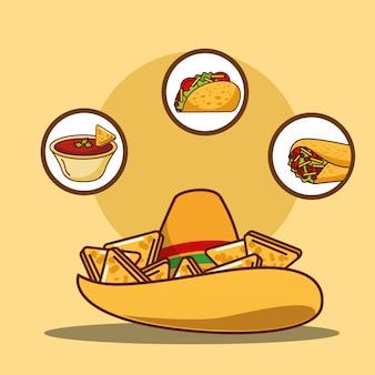 Delicioso sombrero de salsa nacho taco y burrito.