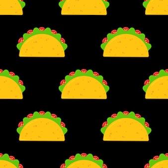 Delicioso taco mexicano comida de patrones sin fisuras