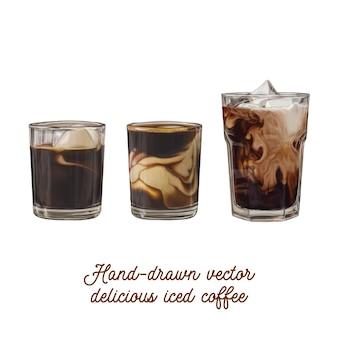 Delicioso vector oscuro café helado en vidrio