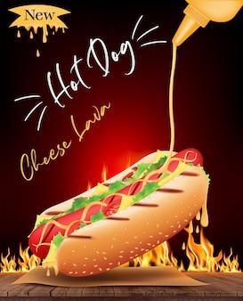 Deliciosos anuncios de queso hot dog e ingredientes en madera con fuego ardiente