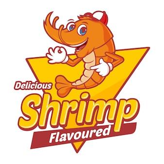 Deliciosos camarones con personaje de dibujos animados divertidos