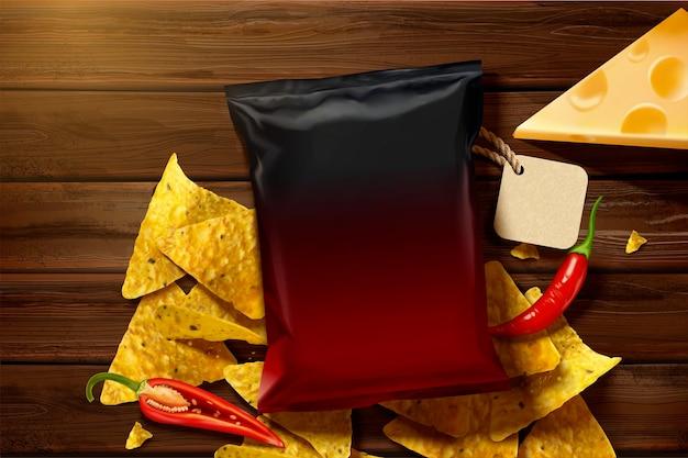 Deliciosos chips de tortilla de queso con bolsa de papel en blanco en la mesa de madera en la ilustración 3d