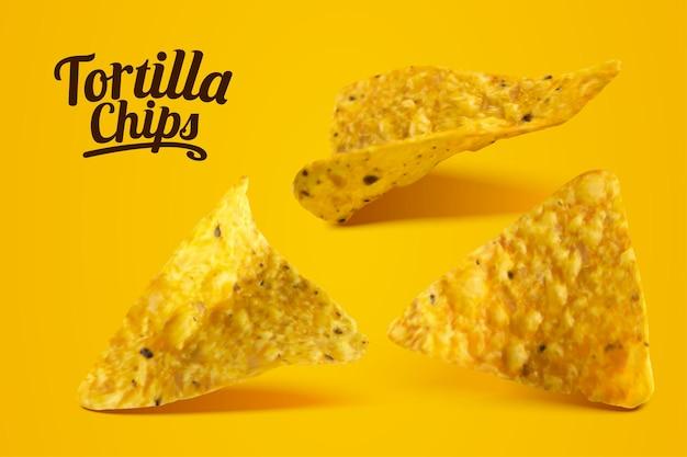 Deliciosos chips de tortilla de queso en la ilustración 3d