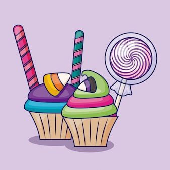 Deliciosos cupcakes dulces con caramelos.