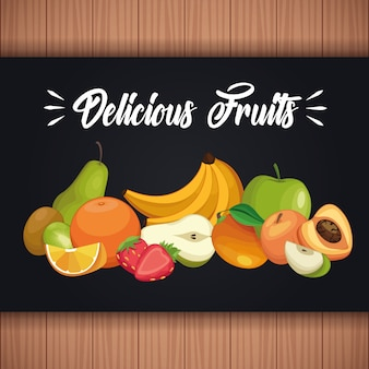 Deliciosos dibujos animados de frutas.