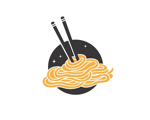 Deliciosos fideos dibujados a mano con palillos