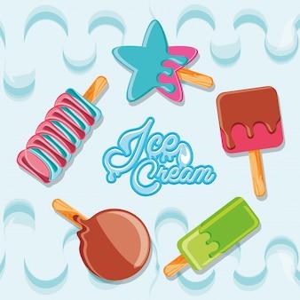 Deliciosos helados en póster de palo