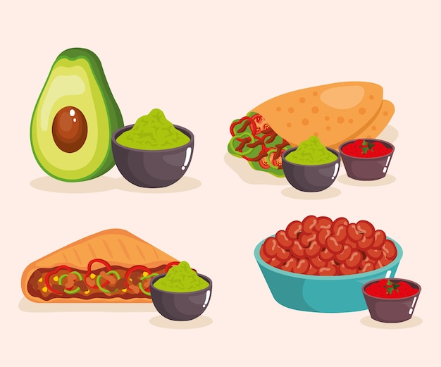Deliciosos iconos de comida mexicana