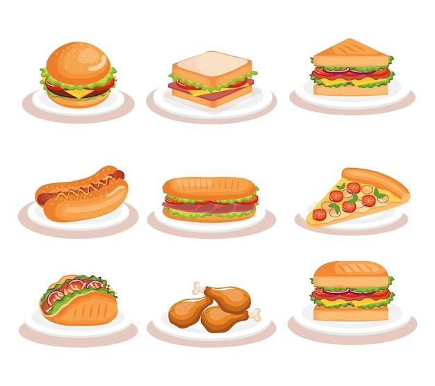 Deliciosos iconos de comida rápida vector ilustración diseño