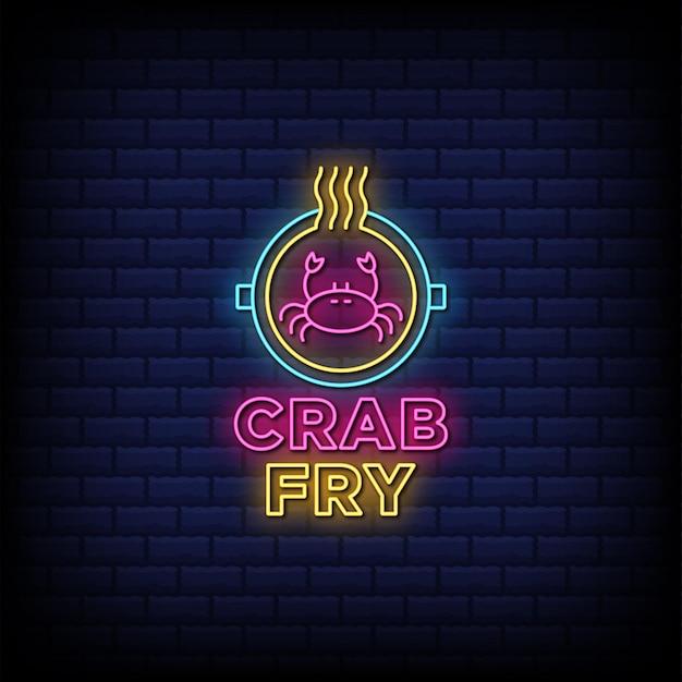 Deliciosos mariscos cangrejo fry letreros de neón estilo texto