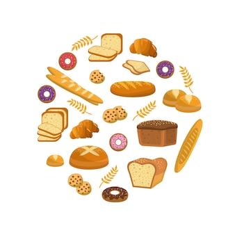 Deliciosos panes, donas y galletas de panadería