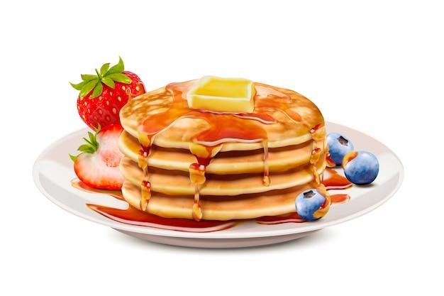 Deliciosos panqueques esponjosos con coberturas de mantequilla de miel y fruta fresca, fondo blanco.