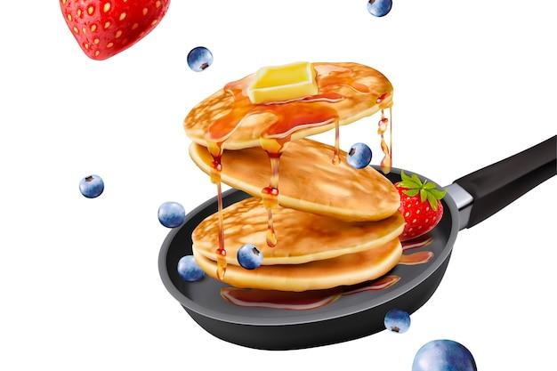 Deliciosos panqueques esponjosos en sartén, frutas frescas y coberturas de miel sobre fondo blanco.