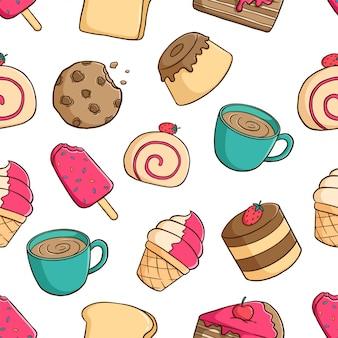 Deliciosos pasteles de patrones sin fisuras con pudín, galletas, helados y café sobre fondo blanco