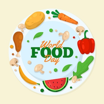 Deliciosos productos alimenticios para el evento del día mundial de la alimentación