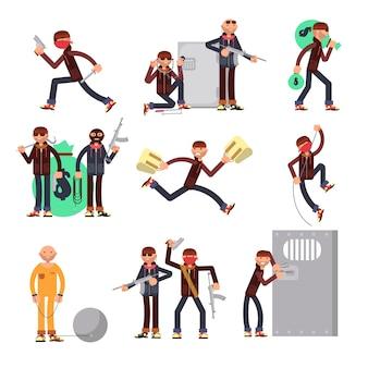 Delincuente criminal en conjunto de vectores de diferentes acciones. personajes de dibujos animados ladrón y ladrón