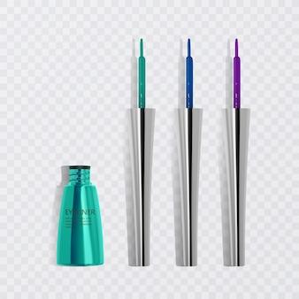Delineadores de ojos líquidos, conjunto de delineadores de ojos de colores brillantes, producto para uso cosmético en la ilustración 3d, aislado