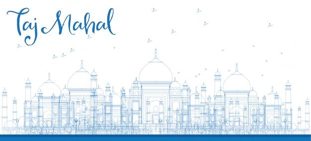 Delinee los rascacielos de taj mahal city en color azul.