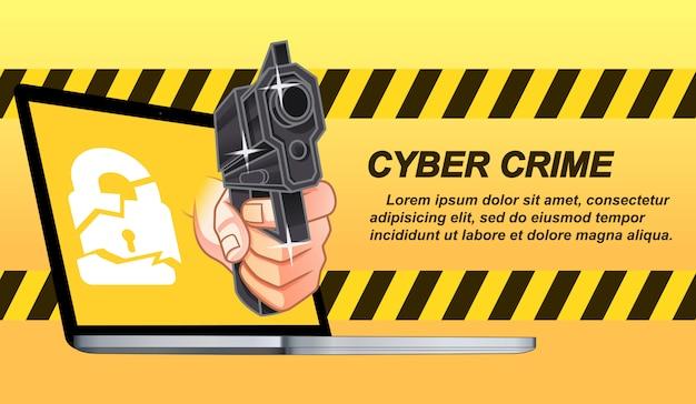Delito cibernético en estilo de dibujos animados.