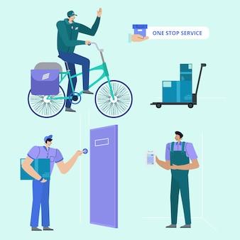 Delivery courier man colección de personajes