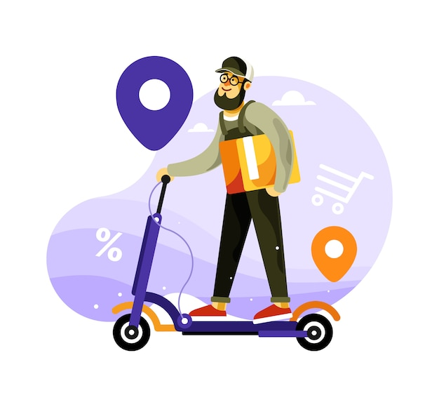 Delivery courier riding scooter eléctrico
