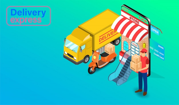 Delivery express by parcel delivery person con camión y scooter en la aplicación móvil. pedido y paquete de alimentos en línea en comercio electrónico por sitio web. diseño plano isométrico.