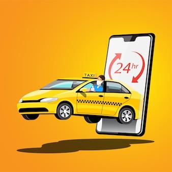 Delivery taxi online car sharing con personaje de dibujos animados y smartphone concepto de transporte de ciudad inteligente, ilustración