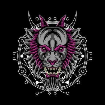 Demonio lobo geometría sagrada