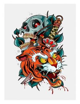 Demonio tigre japonés con cráneo humano