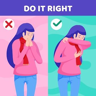 Demostración de persona con tos correcta